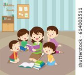 teacher and kids  children... | Shutterstock .eps vector #614002511