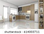 3d rendering wood modern... | Shutterstock . vector #614003711