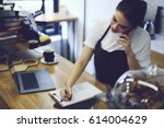 young cute student working... | Shutterstock . vector #614004629