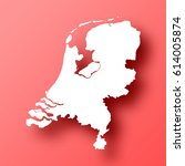netherlands map isolated on red ... | Shutterstock .eps vector #614005874