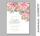 peony wedding invitation...   Shutterstock .eps vector #614008757