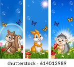 set of tree funny animal with... | Shutterstock .eps vector #614013989
