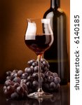 wine glass grape details - stock photo