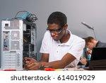 serious man checking an... | Shutterstock . vector #614019029