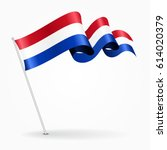dutch pin icon wavy flag.... | Shutterstock .eps vector #614020379