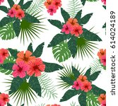 tropical flowers and leaves... | Shutterstock .eps vector #614024189