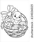 chicken. coloring. happy easter.... | Shutterstock .eps vector #614026025