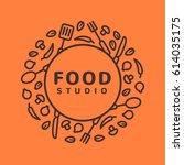 food studio vector logo.... | Shutterstock .eps vector #614035175