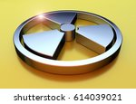 nuclear symbol. chrome object... | Shutterstock . vector #614039021
