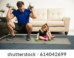 attractive fitness father... | Shutterstock . vector #614042699