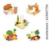 vector of five groups of food  | Shutterstock .eps vector #614047754