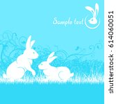 rabbits in grass text ... | Shutterstock .eps vector #614060051