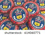 us state buttons  pile of... | Shutterstock . vector #614060771