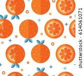 seamless pattern with orange... | Shutterstock . vector #614061071