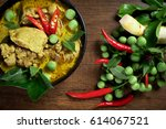 thai food  green curry chicken... | Shutterstock . vector #614067521
