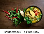 thai food  green curry chicken... | Shutterstock . vector #614067557