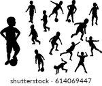 boy silhouettes active vector... | Shutterstock .eps vector #614069447
