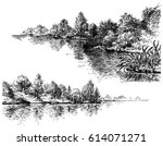river banks black and white set | Shutterstock .eps vector #614071271