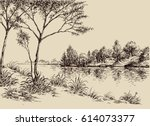 hand drawn artistic landscape.... | Shutterstock .eps vector #614073377