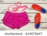 shorts  skipping rope and...   Shutterstock . vector #614073647