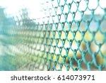 garden green color grid fence.... | Shutterstock . vector #614073971