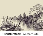 river flow scene. hand drawn... | Shutterstock .eps vector #614074331