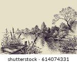 river flow scene. hand drawn... | Shutterstock .eps vector #614074331