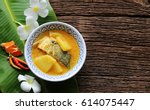 yellow curry snapper fish with... | Shutterstock . vector #614075447