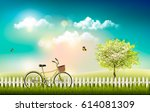 nature meadow landscape with a... | Shutterstock .eps vector #614081309