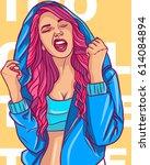 beautiful teenage pink hair... | Shutterstock . vector #614084894