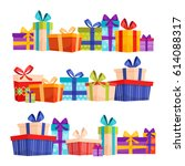 set of colorful gift boxes with ... | Shutterstock .eps vector #614088317