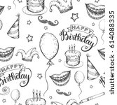 seamless happy birthday holiday ... | Shutterstock .eps vector #614088335