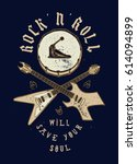 crossed rock guitars and drum ... | Shutterstock .eps vector #614094899