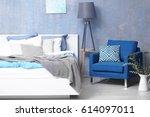 interior of modern bedroom with ... | Shutterstock . vector #614097011