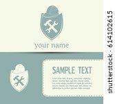 business cards design. hammer...   Shutterstock .eps vector #614102615