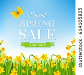 spring sale poster  | Shutterstock . vector #614105825