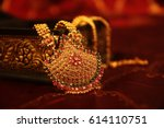 indian traditional gold... | Shutterstock . vector #614110751