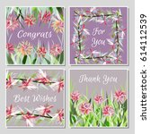 set of beautiful greeting cards ... | Shutterstock .eps vector #614112539