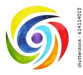 7 color of chakra symbol... | Shutterstock . vector #614114015