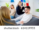 teen daughter in family therapy   Shutterstock . vector #614119955