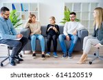 teen daughter in family therapy | Shutterstock . vector #614120519