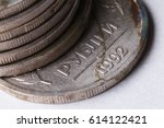 the first russian coins after...   Shutterstock . vector #614122421
