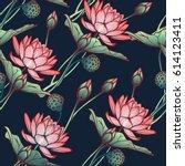 lotus background. floral... | Shutterstock .eps vector #614123411