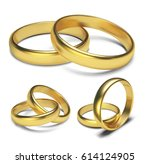 golden rings isolated on white... | Shutterstock .eps vector #614124905
