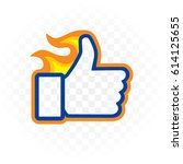 satisfied icon. thumbs up ... | Shutterstock .eps vector #614125655