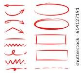 red hand drawn highlighter... | Shutterstock .eps vector #614127191