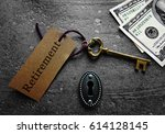 gold key and lock with money... | Shutterstock . vector #614128145