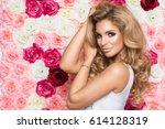 beauty happy model girl with... | Shutterstock . vector #614128319