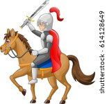 knight horse shield sword... | Shutterstock .eps vector #614128649