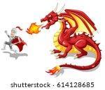 cartoon knight with fierce... | Shutterstock . vector #614128685